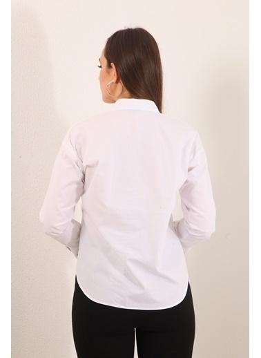 Reyon Baskılı Kadın Gömlek Beyaz Beyaz